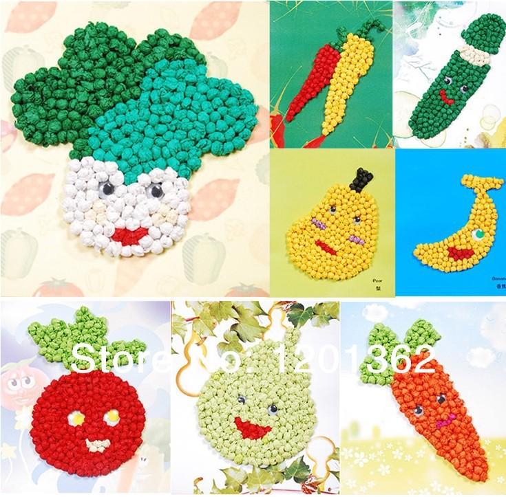Creations Fruit Vegetable DIY Craft Rubbing Paper Sticker Drawing Kids