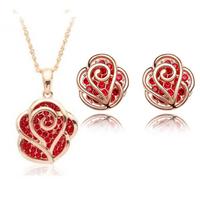 Free shipping 2014 new fashion Jewelry set wholesale royal hip cutout rhinestone rose flower pendant necklace stud earring women