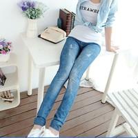 2014 spring summer new arrival faux denim legging pants female ankle length trousers plus big size female elastic pants