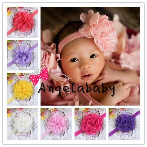 2014 bambino nuovo bambino bambino fasce shabby chiffon pizzo fasce fiore fiore accessori per capelli 30pcs/lot