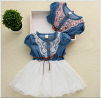new fashion patchwork children girls summer dress kids cowboy lace dress