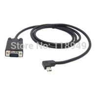 50pcs/lot Right Angled 90 degree Mini DisplayPort DP male to VGA RGB male Monitors projectors Cable 1.5m Black,Free shipping