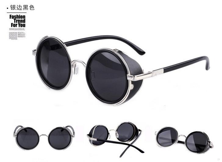 STEAMPUNK round Designer Fashion steam punk Metal OCULOS de sol women SUNGLASSES New Men Retro CIRCLE Sun GLASSES gafas(China (Mainland))