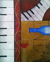 painting music wine art original abstract modern canvas picture Colleen Winning