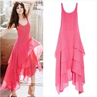 2014 New fashion Bohemia irregular chiffon dress,11 color cute fairy vest long dress, plus size XXXL women's ruffled dress