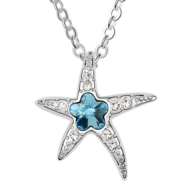 18K Gold Plated Austrian Crystal Jewelry Lovely Starfish Pendant Necklace Sale(China (Mainland))