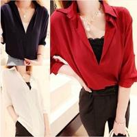 Women's fashion summer V-neck design pullover loose chiffon shirt