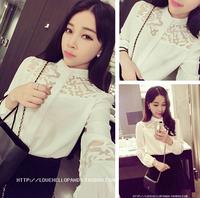 Women's 2014 summer elegant small stand collar yarn carved chiffon shirt autumn and winter female