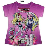 New 5 pcs/lot baby girl T Shirt cartoon Kids Children princess monsters inc Tops tees Summer Wear Short Sleeve Children clothes