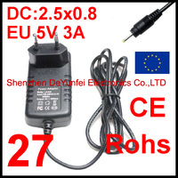 Free Shipping Universal 2.5x0.8mm EU Plug Power AC Charger Adapter 5V 3A for Ampe A10 Tablet PC