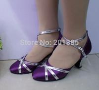 Free Shipping Wholesale Women Blue Glitter Closed Toe Ballroom Salsa Latin Standard Smooth Dance Shoes Size 4,5,6,7,8,9,10
