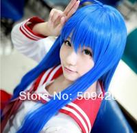 Free Shipping>>>Lucky Star Konata Izumi/Fairy Tail Wendy Marvell 100cm Long Blue Cosplay Wig
