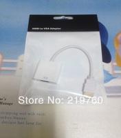 Free Shipping 1pcs HDMI To VGA Cable,HDMI To VGA Adapter,HDMI To VGA Converter,PP Plastic Bag ,White And Black