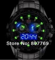TVG 2014 Upgraded version men full steel Luxury Black Men's Clock Fashion Blue Binary LED Pointer  Waterproof Watches relogios