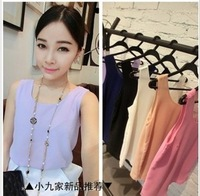 Women's 2014 spring and summer all-match neon color multicolor double layer chiffon vest female
