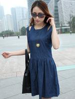2014  new arrival women sleeveless high quality o neck denim dress hot sale back with zipper fashion summer dress