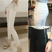 Women's 2014 spring and summer long ! high waist side zipper skinny pants casual pants