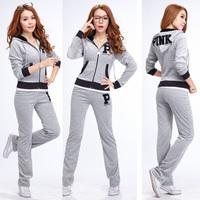 free shipping Pink hoodies  women's slim velvet  set casual sport suit sweatshirt women tracksuit girl clothing set