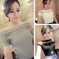 Women's 2014 spring and summer sexy slit neckline strapless knitted gauze patchwork t-shirt  female