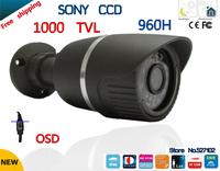 "Free shipping!security camera 1/3""Sony ccd Effio-e 1000TVL 36led with OSD menu waterproof cctv camera HD Outdoor security camera"