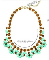 Fashion luxury neon green gem purple crystal fashion necklace female necklace