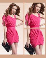 2014 women's oblique one-piece dress sexy slim hip slim chiffon dress