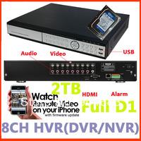 DVR CCTV 8ch Real time All Full D1/960h H.264 Digital Video Recorder Security DVR/ NVR/ HVR HDMI Audio Alarm P2P +2T HDD