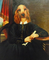 "High Quality Hand Painted Oil on Canvas 20""x24""- Sophisticated Spaniel"