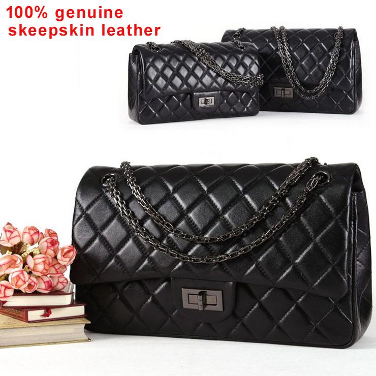 Genuine Sheepskin Leather 2.55 Classic Plaid Chain Women Leather Handbags Fashion Designer Shoulder Bag Women Messenger Bag(China (Mainland))