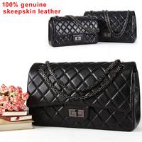 Genuine Sheepskin Leather 2.55 Classic Plaid Chain Women Leather Handbags Fashion Designer Shoulder Bag Women Messenger Bag