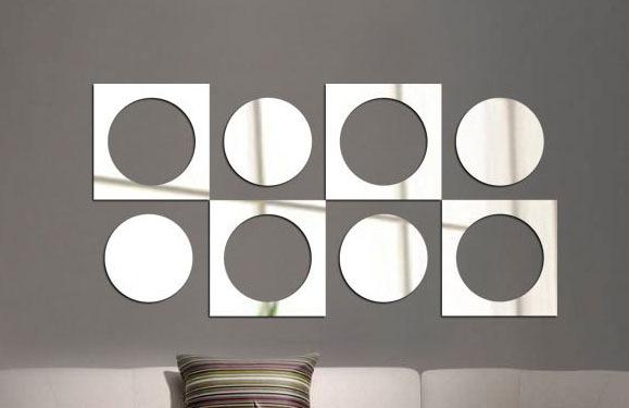 D coration la maison design moderne effet miroir carr - Miroir autocollant design ...