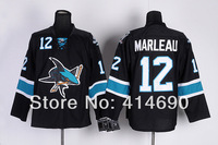 2014 New Cheap San Jose Sharks Hockey Jerseys #12 Patrick Marleau Black Premier Third Jersey