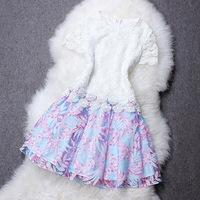 New Women Organza Patchwork Embroidery Crochet Flower One-piece Dress, European High Street Luxury Party Dresses Short Sleeve