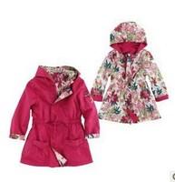 2014 Fashion high quality france brand designer children coat floral girls coat kids outerwear reversible girl's clothes