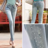 2014 Spring New womens Fashion Diamond Skinny Jeans Slim Fit Pencil Pant Tight Mid Waist Trousers