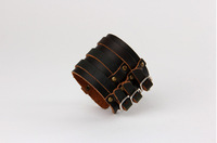 Men Jewelry Vintage Wide Leather Cuff Bracelets
