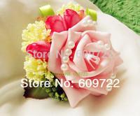 New Prom Fabric Handmade Boutonniere Wedding 10pcs Artificial Rose Pearl Bride Corsage Wrist Flower Bracelet Pink  Fl1391