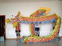 10m Length adult size  silk print fabric  color  Chinese DRAGON DANCE ORIGINAL Dragon Chinese Folk Festival Celebration Costume