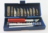 Free Shipping 13pcs/set Hobby Knife Set Gravar Burin Carving Knife Carving Tools Set with 3 Handles Sculpture Knife