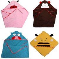 Baby Kids Girls Boys Colorful Animal Design Hooded Towel Washcloth Wrap Infant Bath Terry Robe Character Cartoon Bathrobe 653970