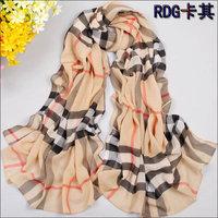 2013 New Women Scarf Fashion Grid Patterm stripe plaid scarf Female models chiffon scarf