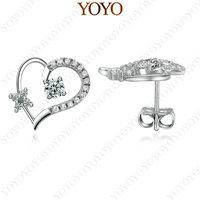 New Arrival 18K WhiteGold Plated Shining Austria Crystal Flower Heart Stud Earrings (YOYO E140W1)