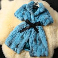 Hot Sale!2014 New Spring !Women Natural Rabbit Fur Coats Jackets Real Fur Vests Waistcoats Many Colors Slim Belt Custmize Design