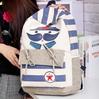 Free shipping Double-shoulder cartoon school bag canvas   women backpack pupil backpacks high school bookbag