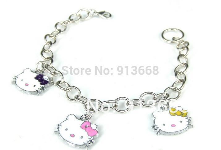 2014 Metal Chain,Pendant Bracelet with HELLO KITTY BR242 charm bracelet(China (Mainland))