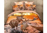 Personality brand luxurious 3d bedding set 4pcs,duvet set/comforter set/flat sheet/bed cover,king/queen size,Animal Elk  deer