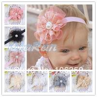 Vintage Lace Flower Baby Headbands Infant Toddler Hair Bands Rhinestone Girls Flower Headbands 10pcs HYF01