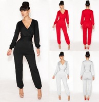4 Colors New 2014 Fashion V Neck Women Sexy Black Red Jumpsuits Elastic Bodycon Formal Party Evening Sexy Club Jumpsuits SJ1009