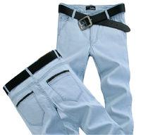 *_* Spring Summer style Korean Slim / zipper men's jeans / fashion s casual cotton pants feet