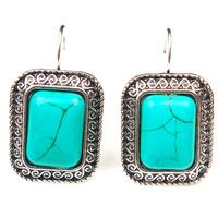 Elegant European Tibetan Silver Oval Turquoise Stone Clasp Dangle Earring Women Jewelry Vintage 2014 New Promotion Free PP